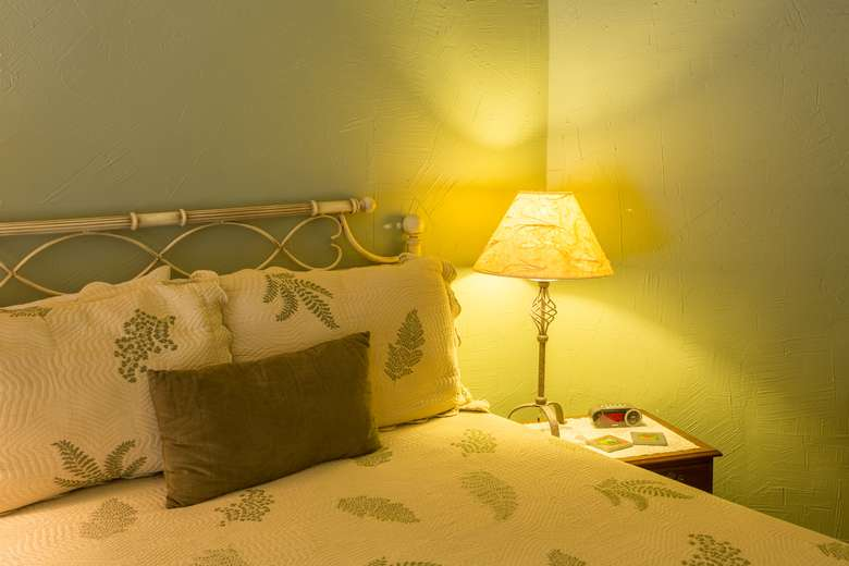 queen bed with lamp and sage green walls