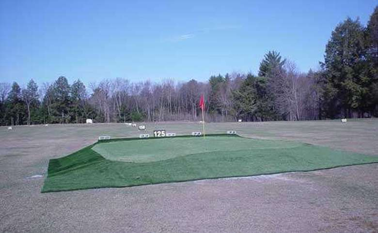 outdoor putting green with a driving range visible in the background