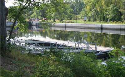 metal ramp leading down to a floating dock