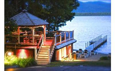 gazebo overlooking lake george at dusk