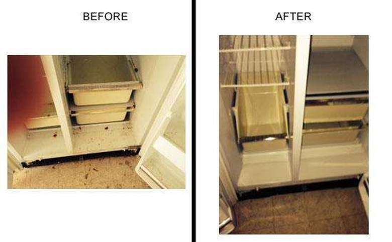 Before and After, Dirty fridge to clean fridge