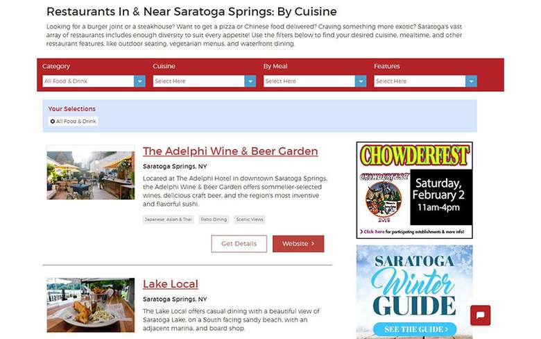 restaurant directory on saratoga.com
