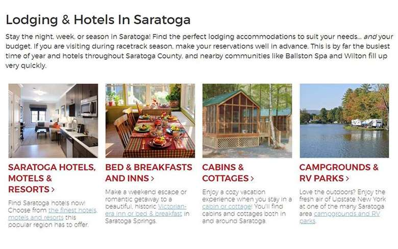 lodging section on saratoga.com