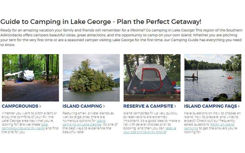 lake george camping guide page