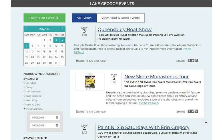 lake george events page