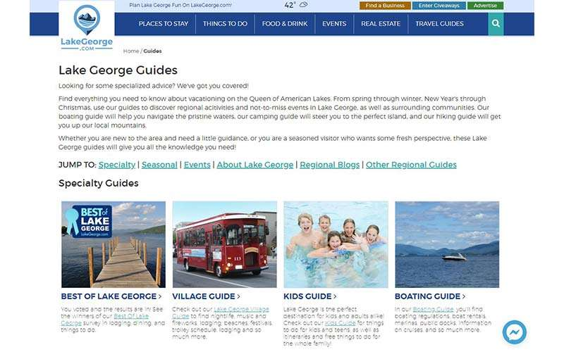 lake george website guide page