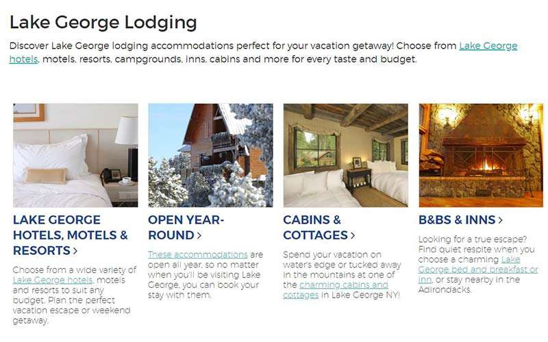 lake george lodging guide page