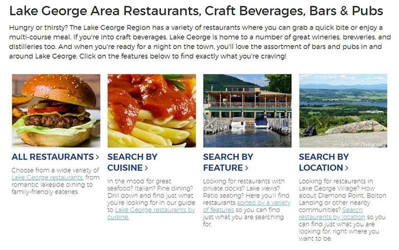 lake george restaurants guide page
