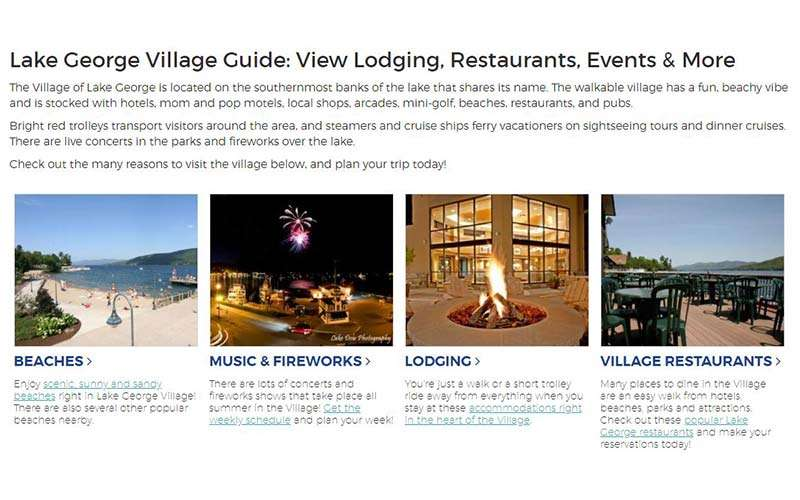lake george village guide page