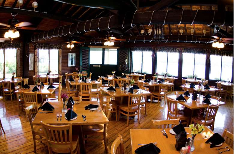 tables inside the boathouse restaurant