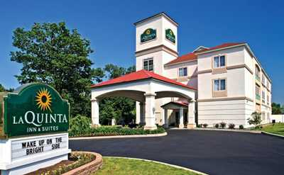 Exterior and sign of La Quinta Inn and Suites