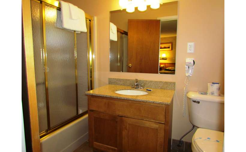 A motel room bathroom