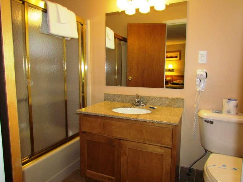 A motel room bathroom
