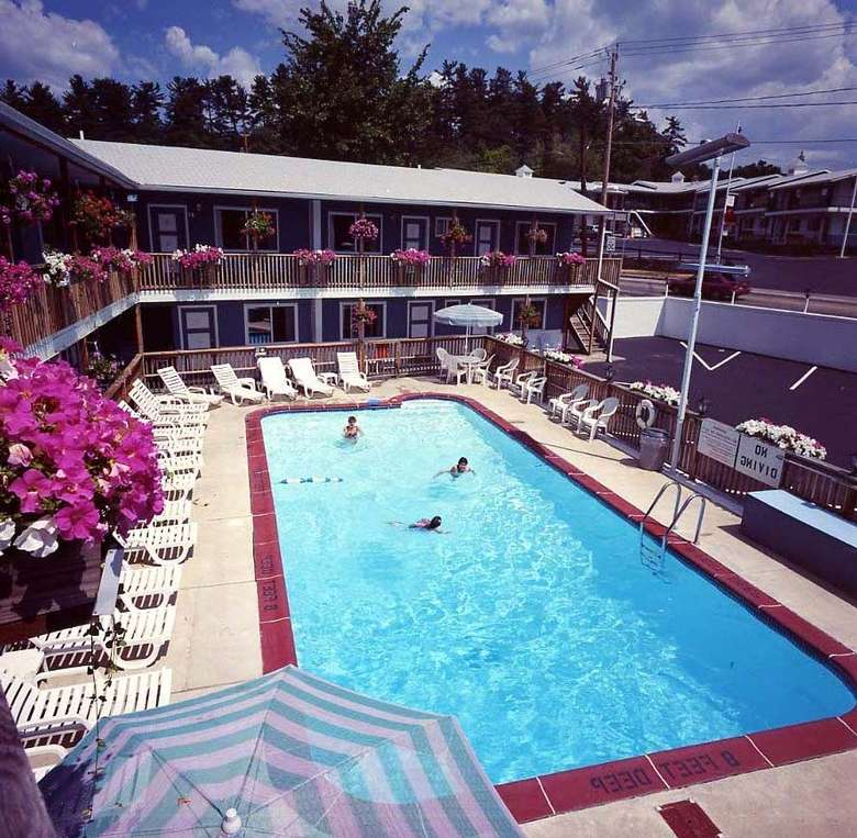 A view of the heated pool from second floor of motel