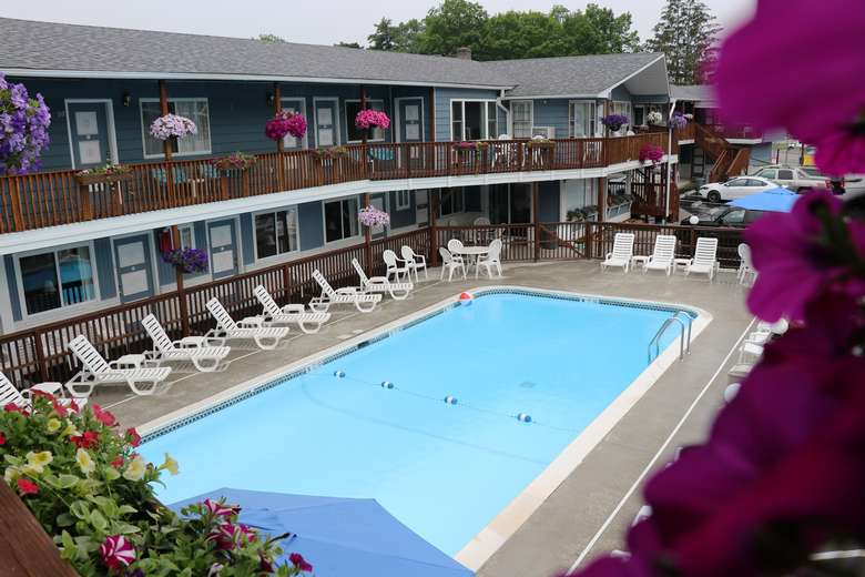 View of pool from second floor balcony rooms