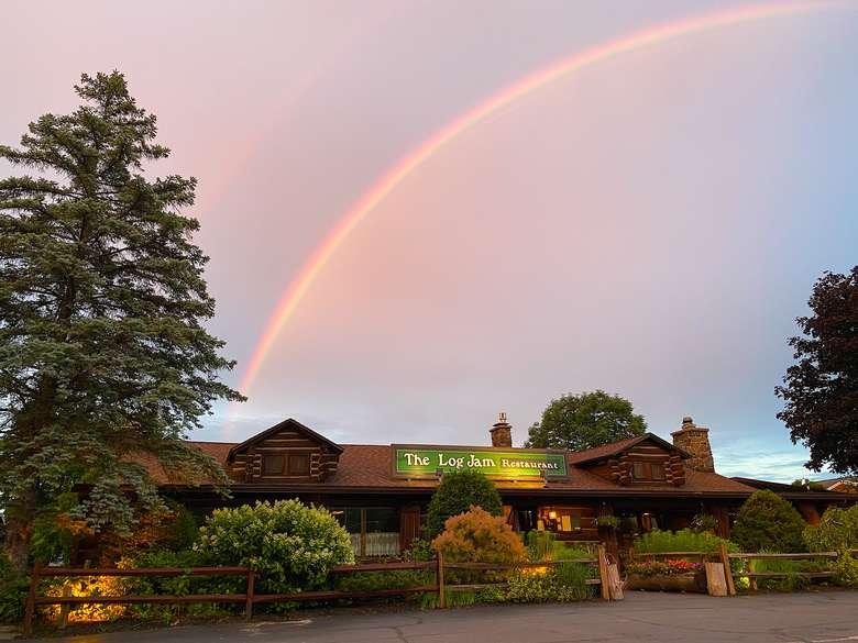 rainbow over Log Jam Restaurant