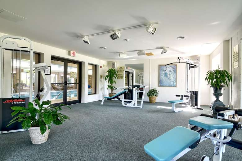 a room with exercise equipment