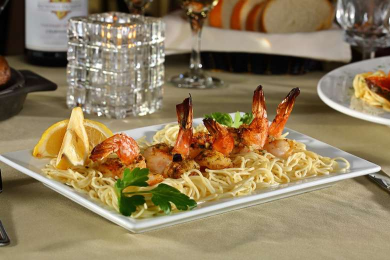 pasta with baked stuffed shrimp