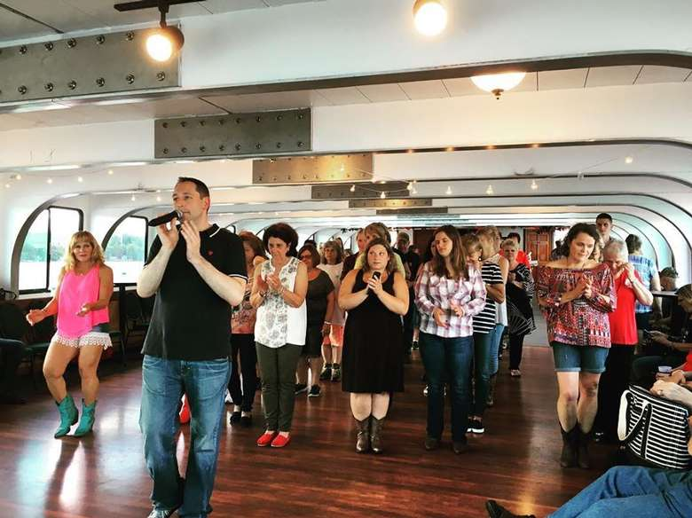 line dancing in a cruise ship