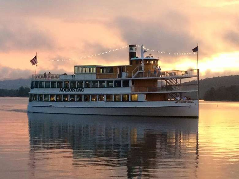 adirondack cruise ship and evening sky