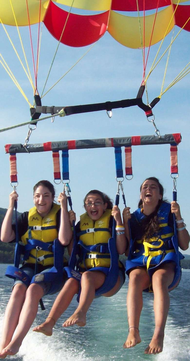 three people on a parasailing parachute