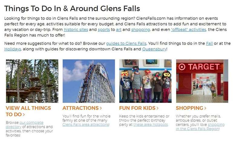 activities section on glens falls website