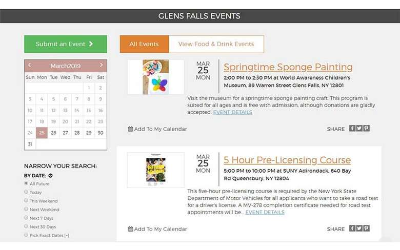 events calendar on glens falls website