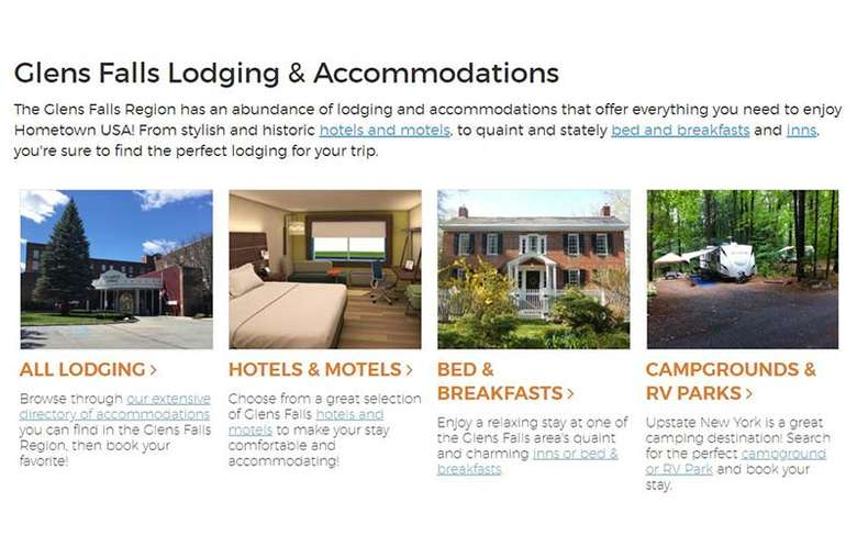 lodging section on glens falls website