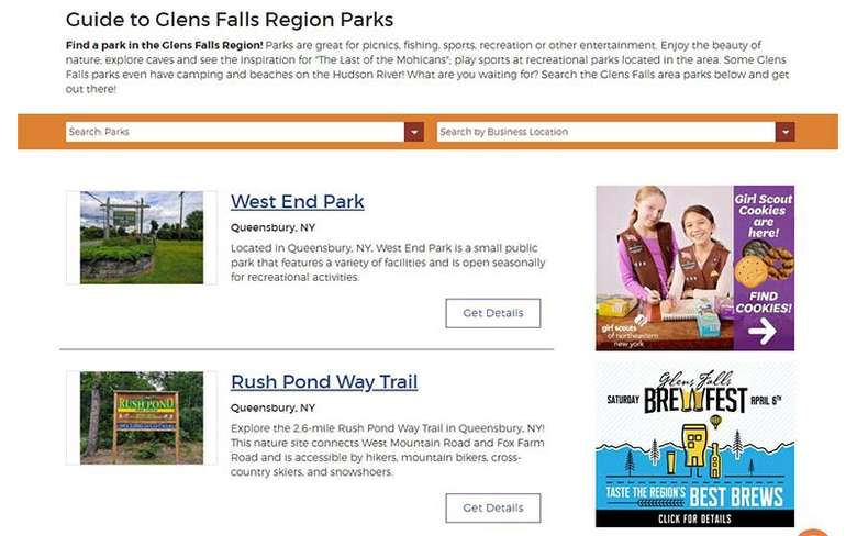 parks directory on glens falls website