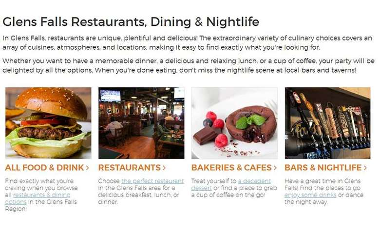 dining guide on glens falls website