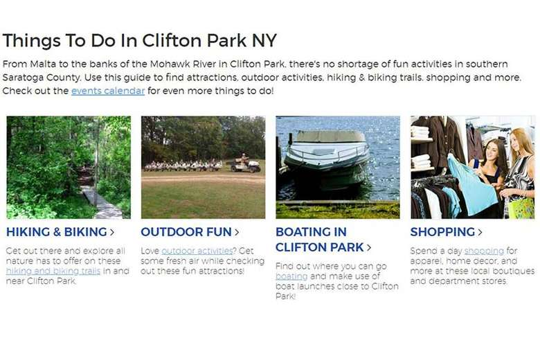 things to do guide on on clifton park website