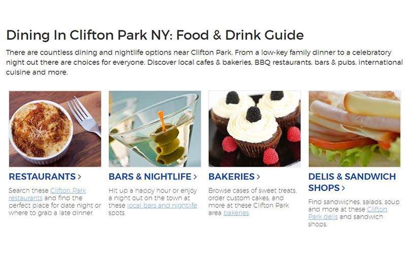 dining guide on on clifton park website