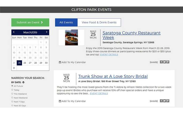 events calendar on on clifton park website
