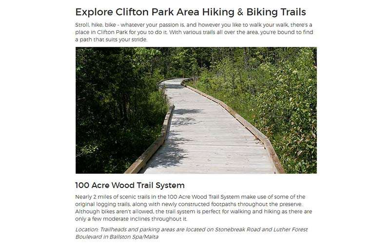 hiking page on on clifton park website