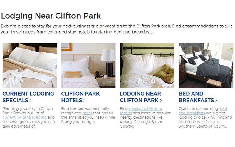 lodging guide on on clifton park website