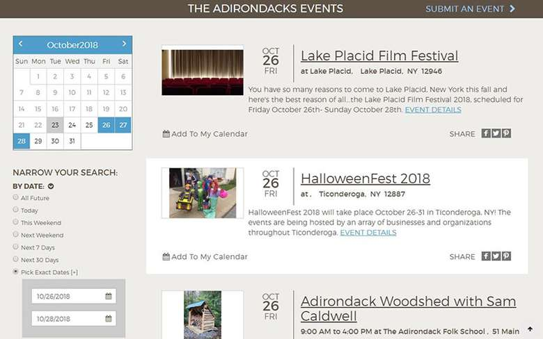 an online events calendar with events ordered in a list