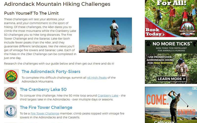 a hiking article about different hiking challenges in the Adirondacks
