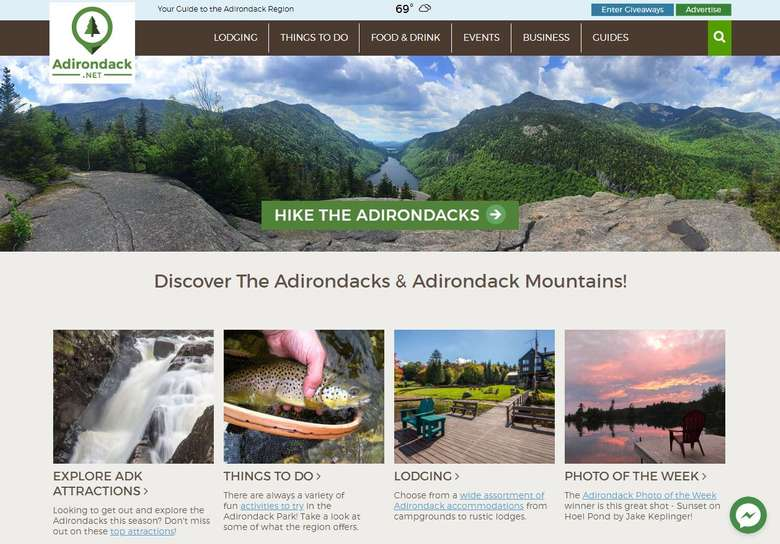 the home landing page of Adirondack.net