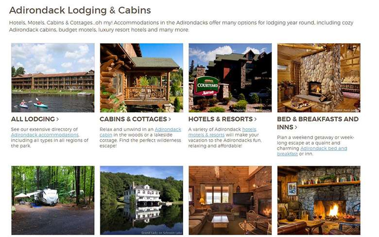 a guide featuring different lodging sections