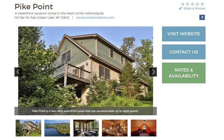 a lodging directory page for a house called pike point