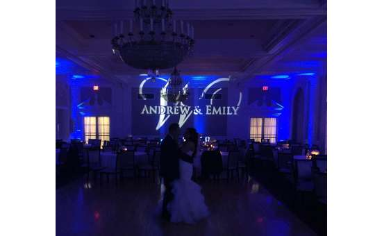 blue lighting wedding