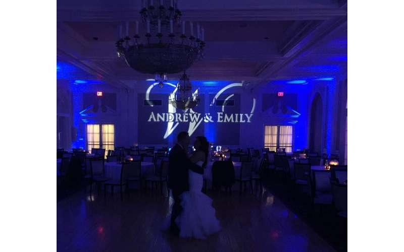 blue lighting wedding