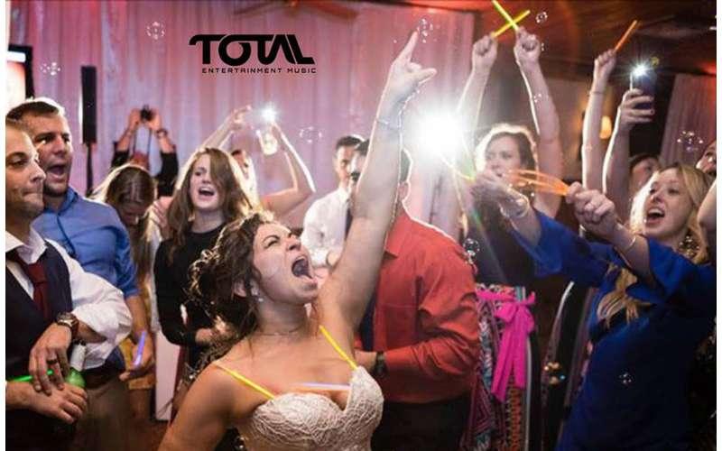 enthusiastic wedding crowd
