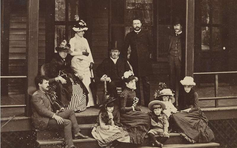 The Grant family on the cottage porch in 1885.