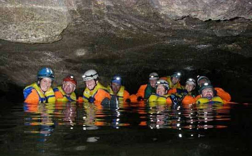 Floating through Garnet Cave on the Adventure Tour