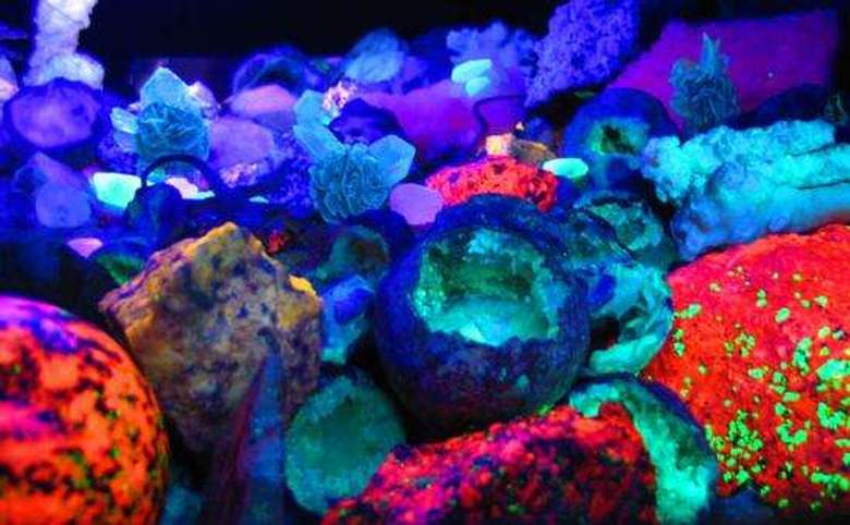 fluorescent rocks glowing in the dark