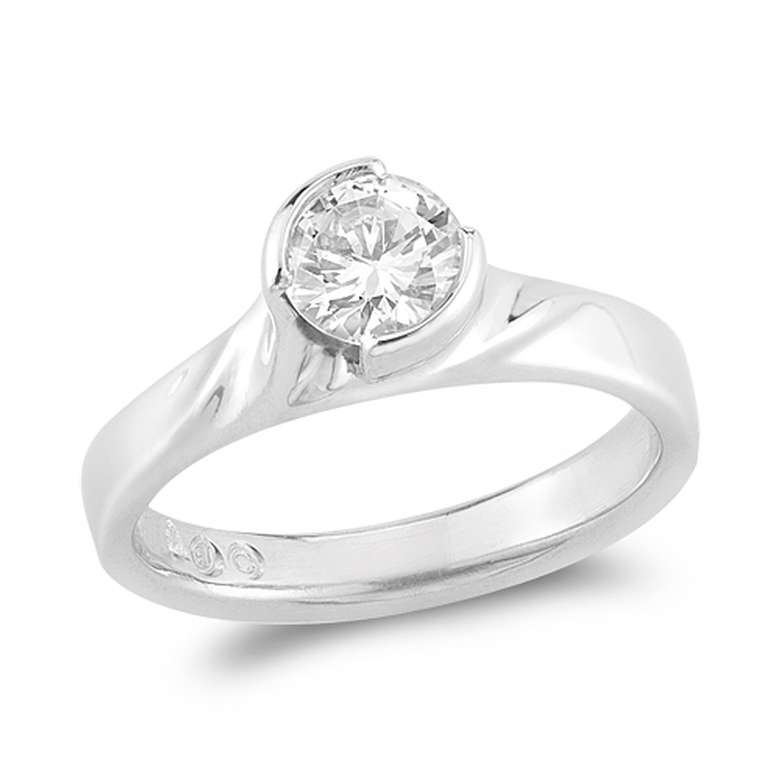 round brilliant cut diamond ring side view
