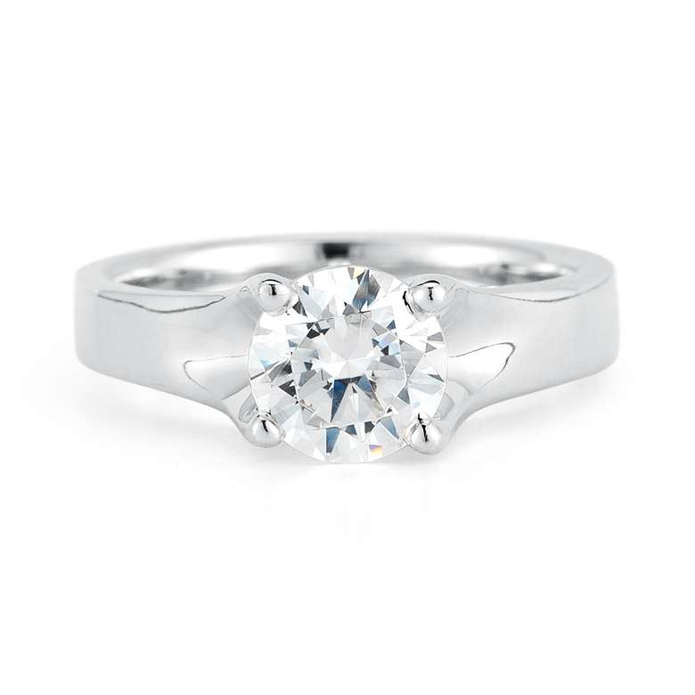 round brilliant cut diamond ring front view