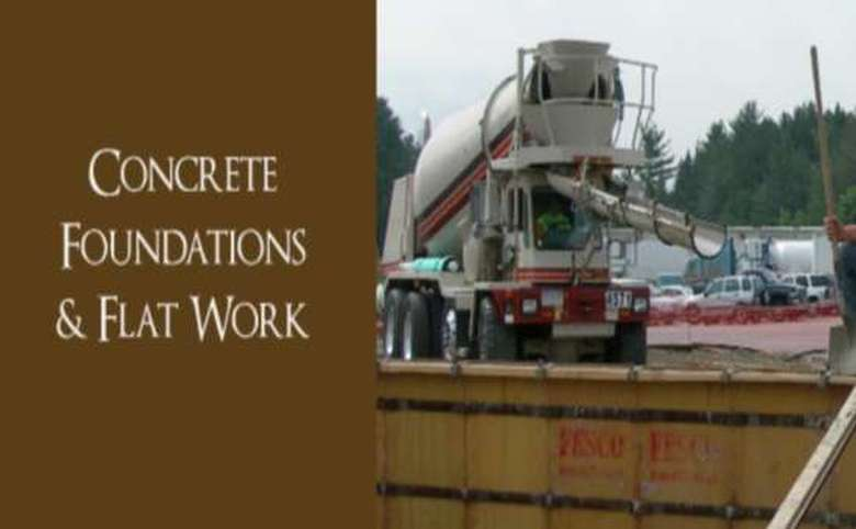 Words concrete Foundations & Flat work next to imaage of concrete truck