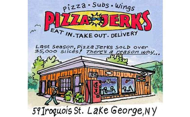 watercolor rendering of pizza jerks with their logo above it